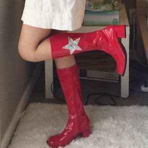 Vintage Chunky Faux Leather Red Boots